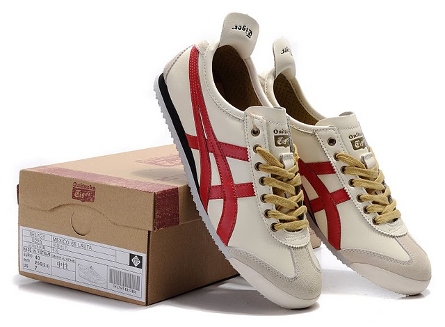Mens Onitsuka Tiger (Beige/ Red/ Black) Mexico 66 LAUTA Shoes