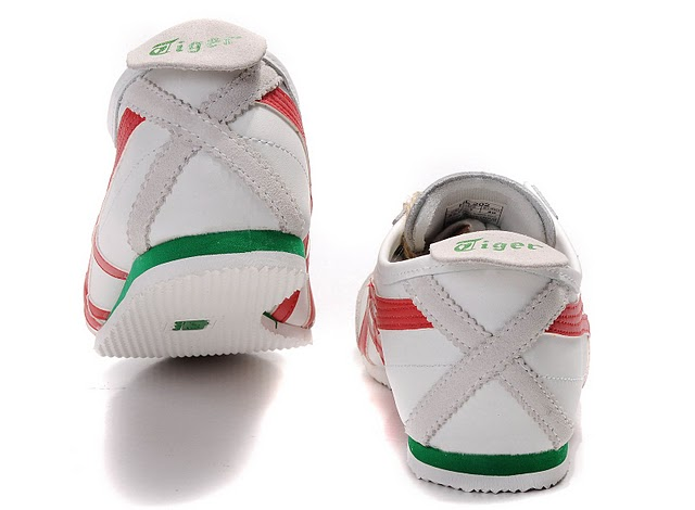 Mens (White/ Red/ Green) Onitsuka Tiger Mexico 66 Shoes