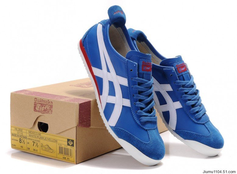 asics tiger red white blue