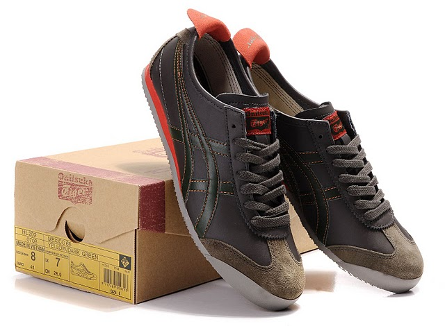Onitsuka Tiger Mexico 66 Shoes (Chocolate/ Army Green/ Tomato)