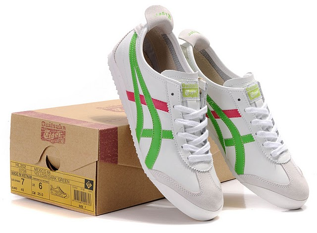 Men's ASICS Onitsuka Tiger Mexico 66 Sport Shoes (White/ Green/ Peach Red)