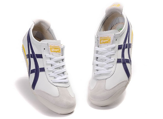 Men's ASICS Onitsuka Tiger Mexico 66 Sport Shoes (White/ Purple/ Yellow)