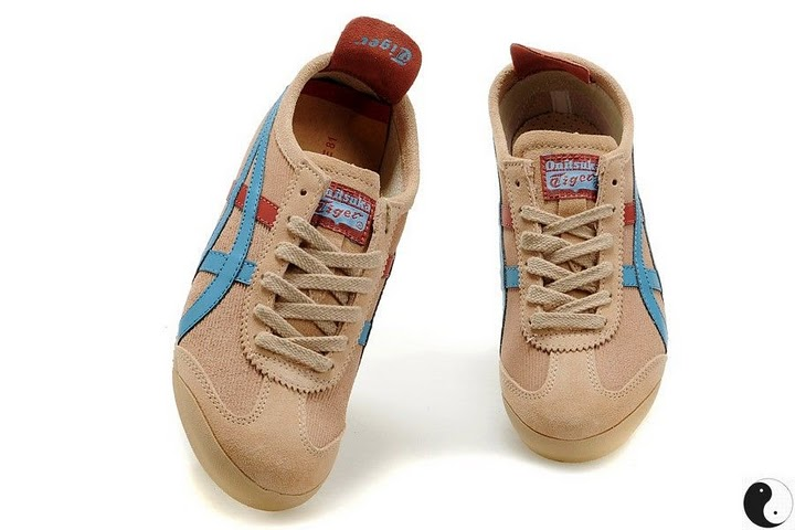 (Light Brown/ Blue/ Red) Onitsuka Tiger Mexico 66 Shoes - Click Image to Close