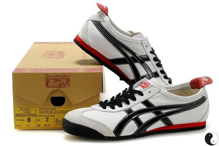 (White/ Black/ Red) Men's Onitsuka Tiger Mexico 66 Shoes