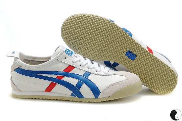 Men's & Women's Onitsuka Tiger Mexico 66 Sport Shoes (White/ Blue/ Red)