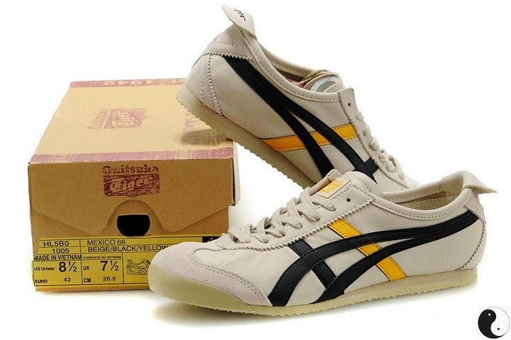 Men's & Women's Onitsuka Tiger Mexico 66 Sport Shoes (Beige/ Black/ Yellow)