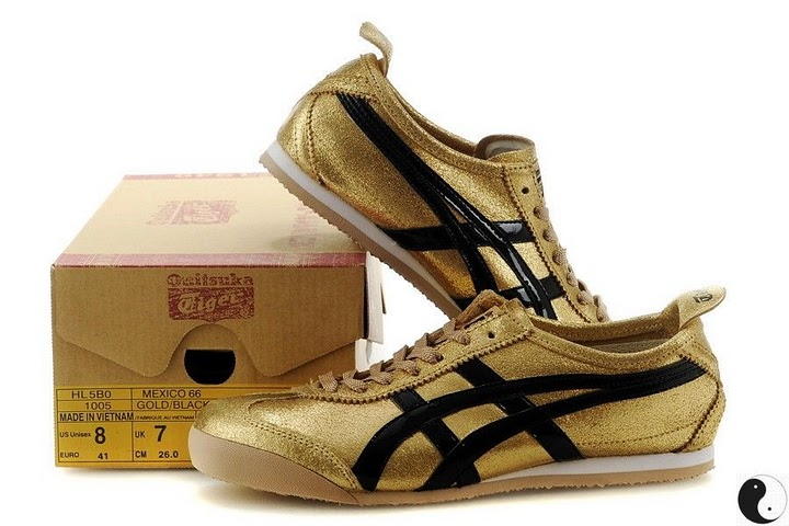 Men's & Women's Onitsuka Tiger Mexico 66 Sport Shoes (Gold/ Black)