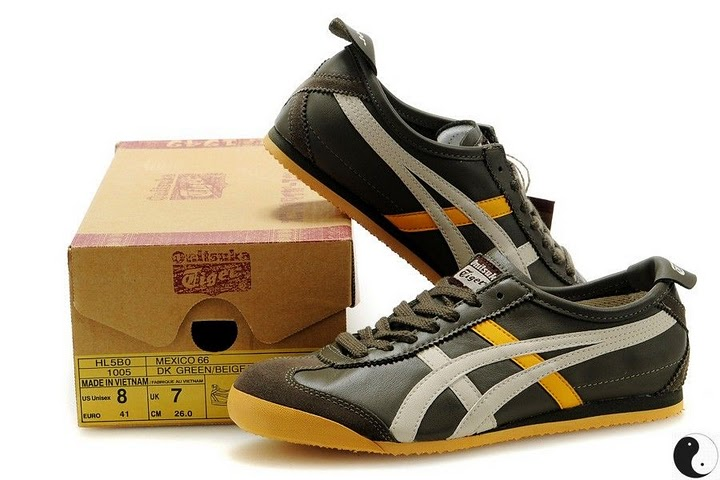 Men's & Women's Onitsuka Tiger Mexico 66 Sport Shoes (DK Green/ Beige/ Yellow)