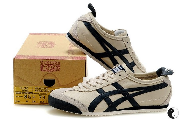 Men's & Women's Onitsuka Tiger Mexico 66 Sport Shoes (Beige/ DK Blue)