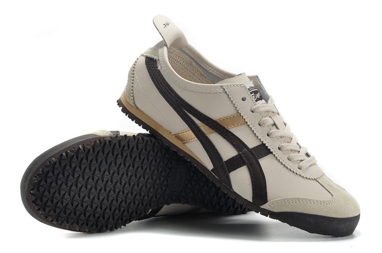 Men's & Women's ASICS Onitsuka Tiger Mexico 66 Sport Shoes (Beige/ Brown/ Gold)