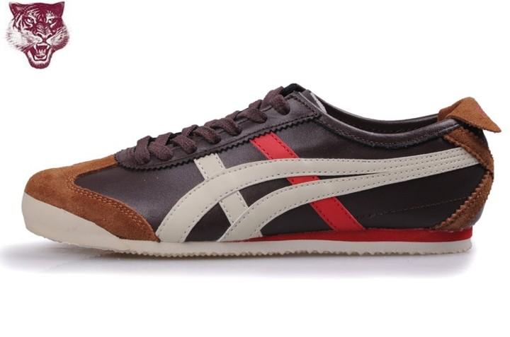 Men's Onitsuka Tiger Mexico 66 Shoes (Brown/ Beige/ Red)