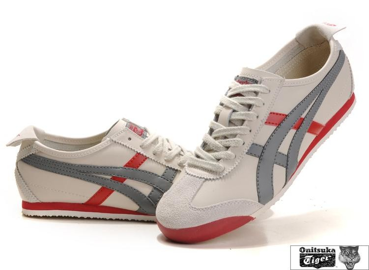 Men's Onitsuka Tiger Mexico 66 Shoes (Beige/ Grey/ Red)