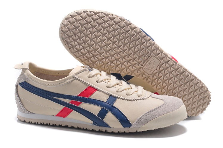 Men's & Women's Onitsuka Tiger Mexico 66 Shoes (Beige/ Blue/ Red)