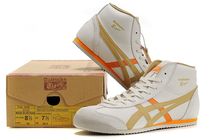 Men's Onitsuka Tiger Mexico Mid Runner (Beige/ Came/ Orange)