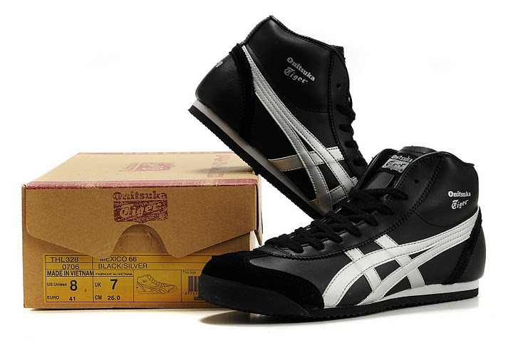 Onitsuka Tiger Mexico Mid Runner Shoes (Black/ Silver)