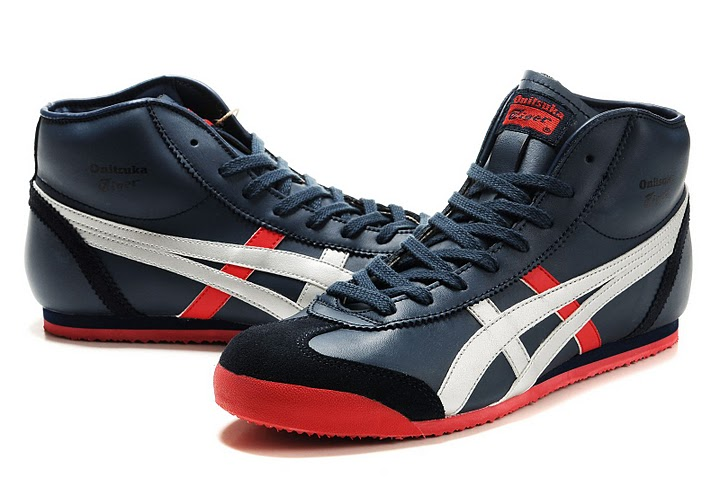 (Navy/ Silver/ Red) Onitsuka Tiger Mexico Mid Runner Women Shoes