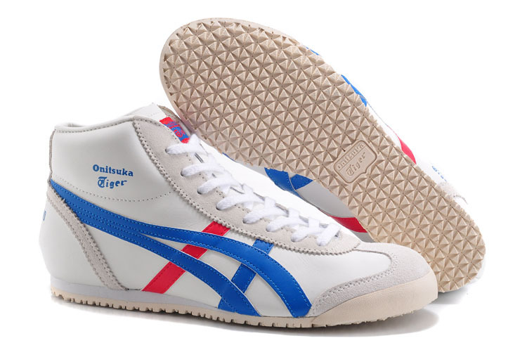 Men's & Women's Onitsuka Tiger Mexico Mid Runner (White/ Royal Blue/ Red)