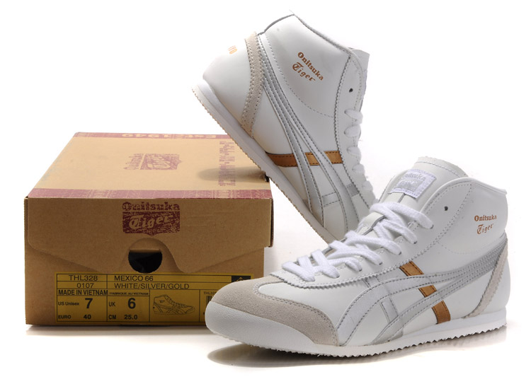 Men's & Women's Onitsuka Tiger Mexico Mid Runner (White/ Silver/ Gold)