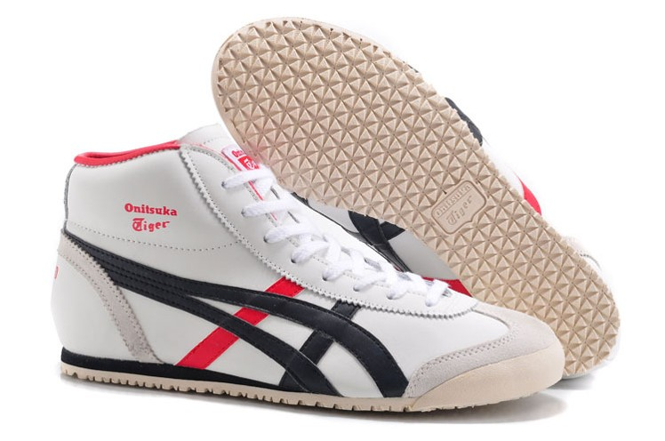 (White/ Brown/ Red) Onitsuka Tiger Mexico Mid Runner Shoes