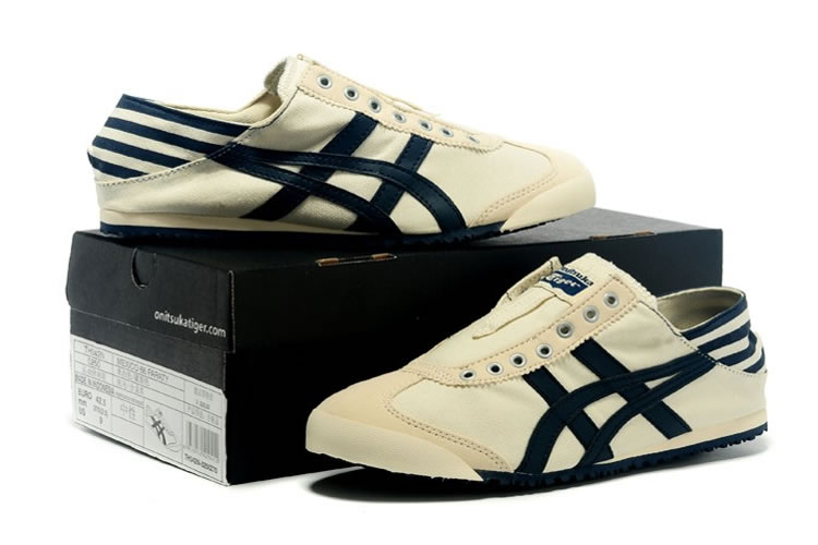 (Beige/ DK Blue) Onitsuka Tiger Slip On Shoes