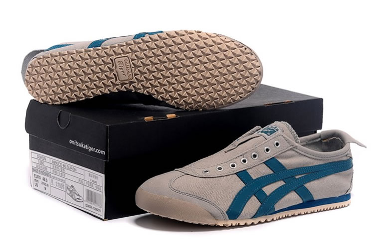(LT Grey/ Blue) Onitsuka Tiger Mexico 66 Slip On Shoes