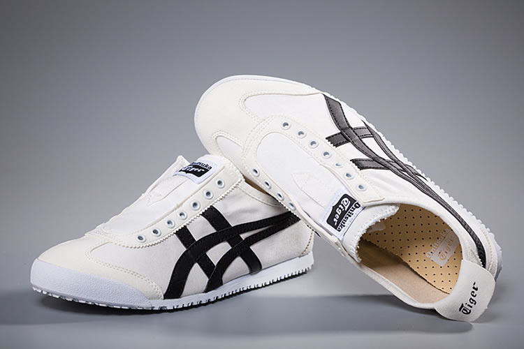 (White/ Black) Onitsuka Tiger Slip On New Shoes - Click Image to Close