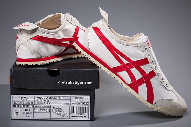 (White/ Red) Onitsuka Tiger Slip On New Shoes