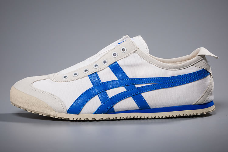 (White/ Blue) Onitsuka Tiger Slip On New Shoes