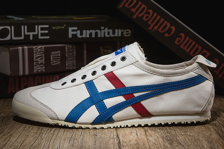 (White/ Blue/ Red) Onitsuka Tiger SLIP ON New Shoes