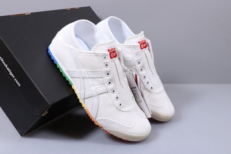 (White/ Rainbow Sole) Onitsuka Tiger SLIP ON Shoes