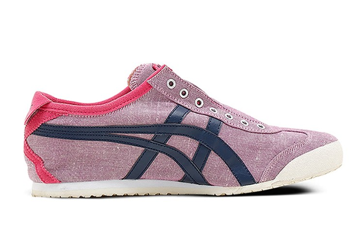 (Purplish Red/ DK Blue) Onitsuka Tiger Slip On Shoes