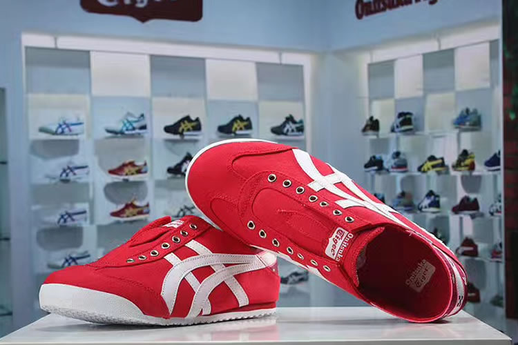 (Red/ White) Onitsuka Tiger Mexico 66 Slip On New Shoes - Click Image to Close