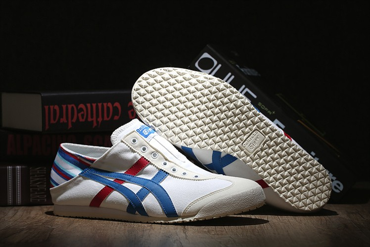 (White/ Blue/ Red) Onitsuka Tiger Mexico 66 Slip-On Shoes - Click Image to Close