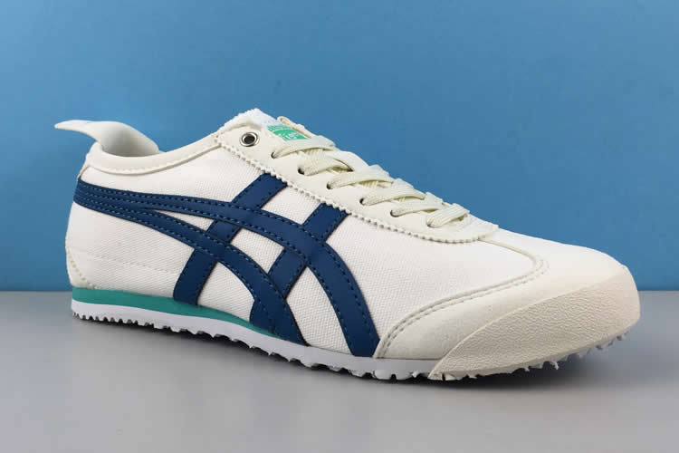 (White/ DK Blue/ Green) Onitsuka Tiger Canvas Shoes