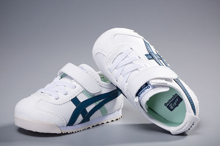 (White/ Blue) Onitsuka Tiger Mexico 66 TS Little Kid's Shoes