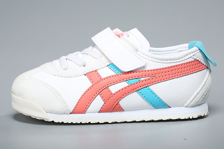 (White/ Peach/ Blue) Onitsuka Tiger Mexico 66 TS Little Kid's Shoes