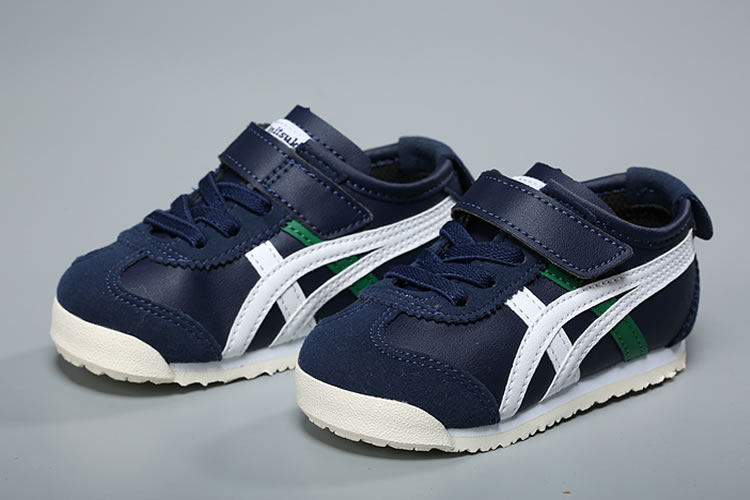 (DK Blue/ White/ Green) Onitsuka Tiger Mexico 66 TS Little Kid's Shoes - Click Image to Close