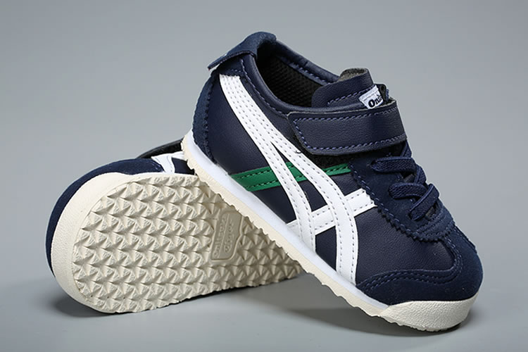 (DK Blue/ White/ Green) Onitsuka Tiger Mexico 66 TS Little Kid's Shoes