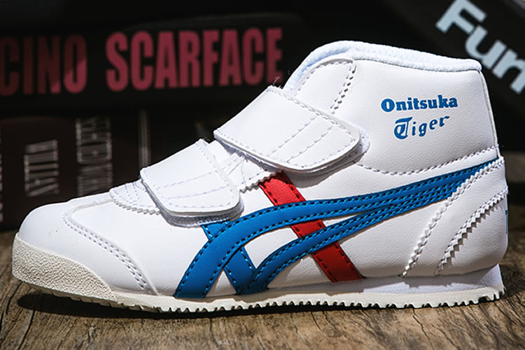 (White/ Blue/ Red) Onitsuka Tiger Mexico Mid Runner PS Shoes