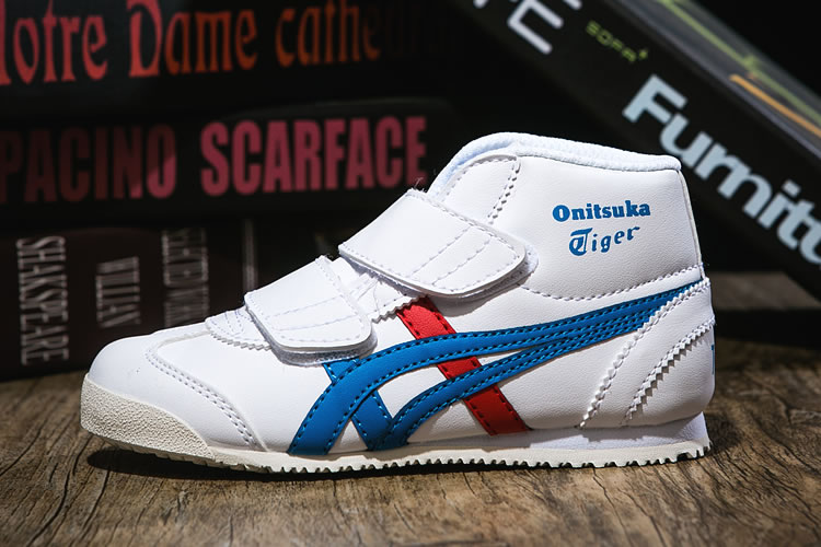 (White/ Blue/ Red) Onitsuka Tiger Mexico Mid Runner PS Shoes - Click Image to Close
