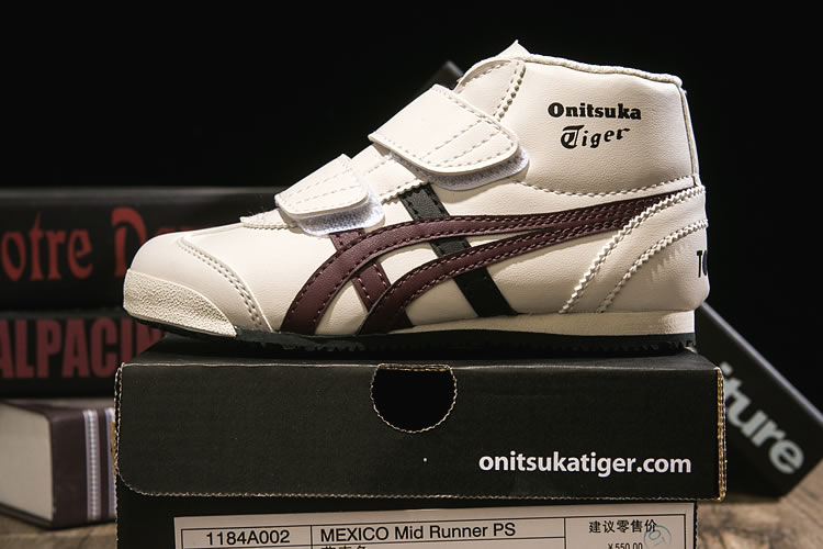 (Beige/ Brown/ Black) Onitsuka Tiger Mexico Mid Runnner PS Kid shoes
