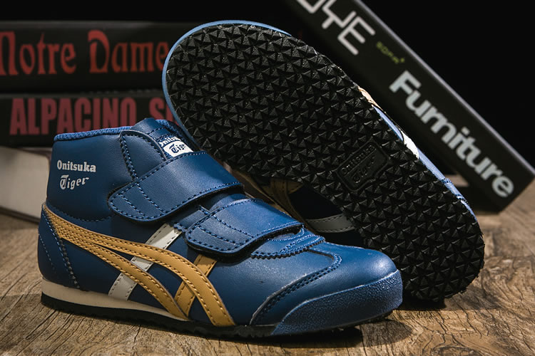 (DK Blue/ Gold/ White) Onitsuka Tiger Mexico Mid Runnner PS Kid shoes