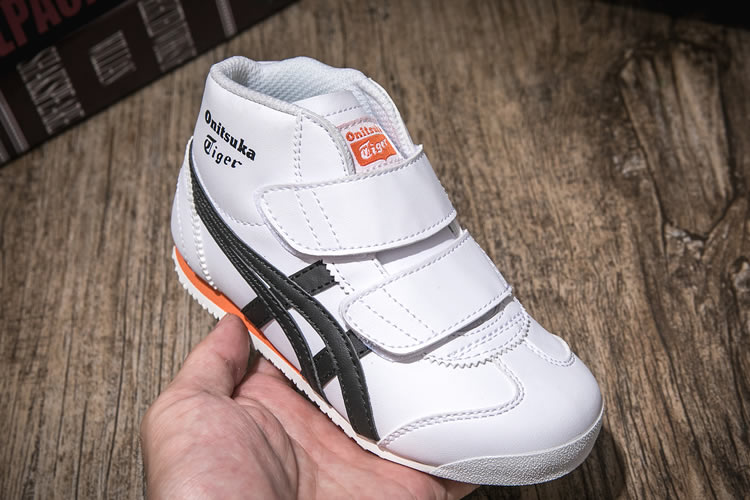 (White/ Black/ Orange) Onitsuka Tiger Mexico Mid Runnner PS Kid shoes - Click Image to Close