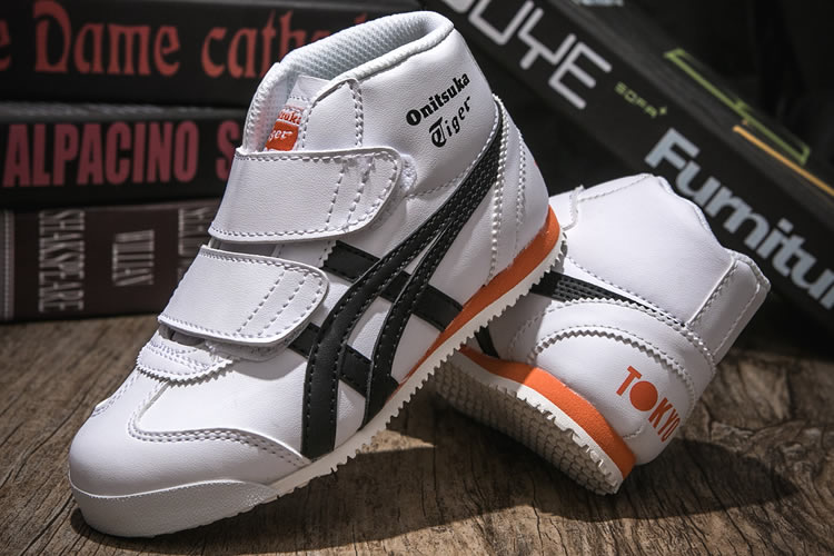 (White/ Black/ Orange) Onitsuka Tiger Mexico Mid Runnner PS Kid shoes