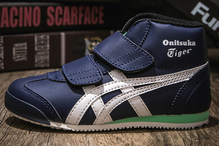 (DK Blue/ White/ Green) Onitsuka Tiger Mexico Mid Runnner PS Kid shoes