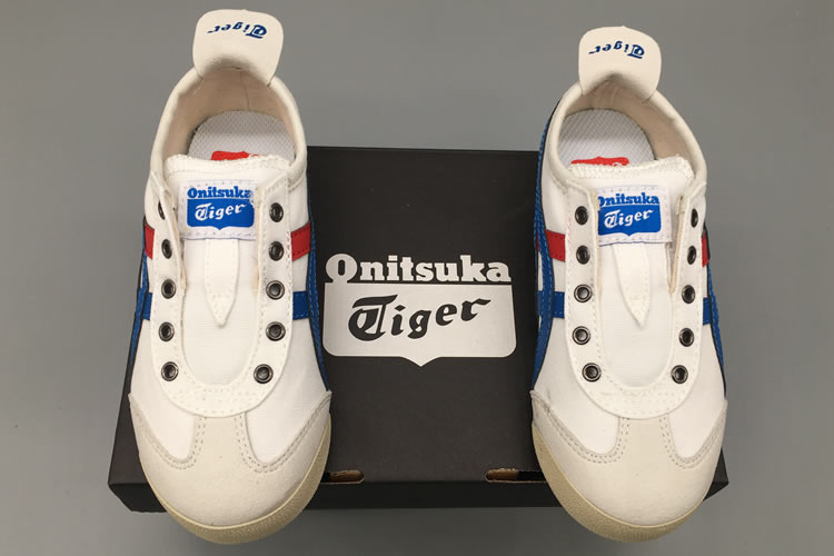 (White/ Blue/ Red) Onitsuka Tiger SLIP ON Big Kid's Shoes
