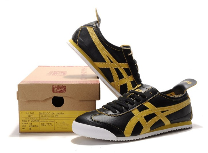Men's Onitsuka Tiger Mexico 66 Black Yellow Shoes
