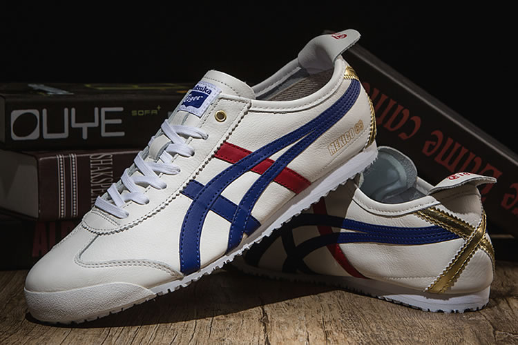 Onitsuka Tiger (White/ Blue/ Red/ Gold) Mexico 66 Shoes - Click Image to Close