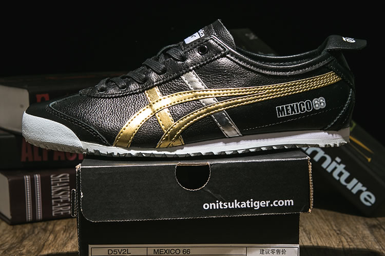 Onitsuka Tiger Mexico 66 (Black/ Gold/ Silver) Shoes - Click Image to Close