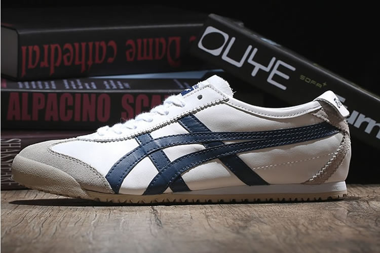 (White/ DK Blue) Onitsuka Tiger Mexico 66 Shoes - Click Image to Close